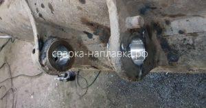 Ремонт отверстий ковша экскаватора