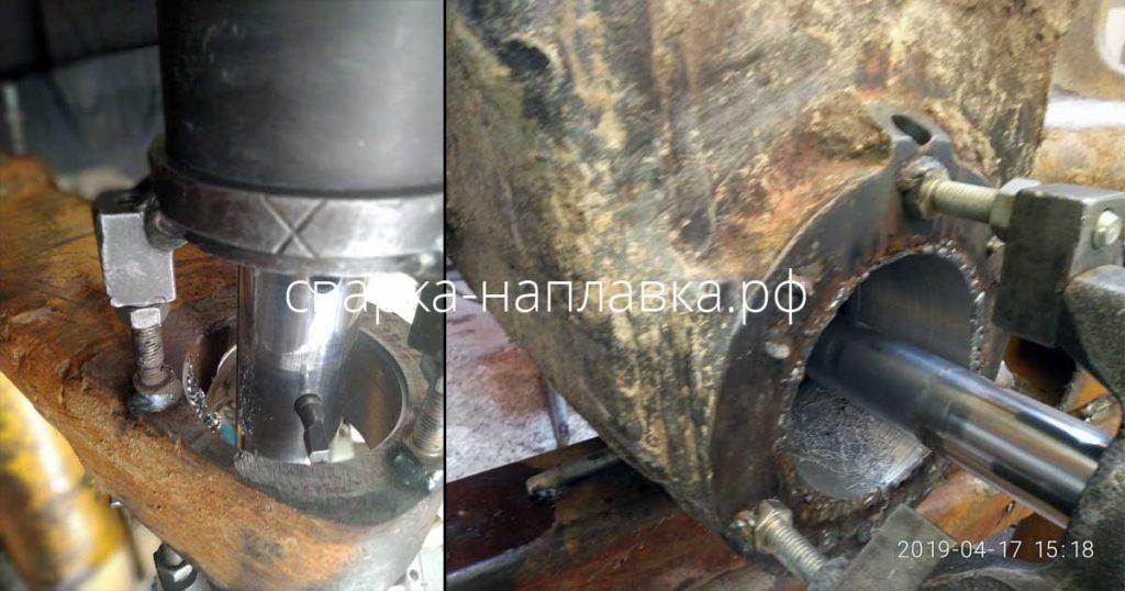 Ремонт отверстий трапеции и стрелы экскаватора Hitachi 470