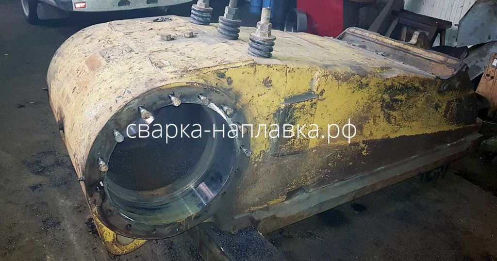 Ремонт посадочного места под подшипники в щеке дробилки СМД 110